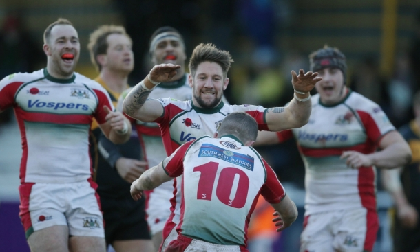 Matt Shepherd celebrates one of his two tries against Esher (picture by Phil Mingo/Pinnacle)