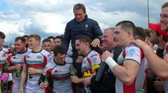 Graham Dawe lifted aloft by Albion