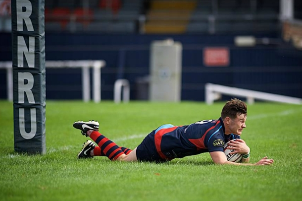 Brandon Andrews scores a try for Devonport Services (picture by Mark Andrews)