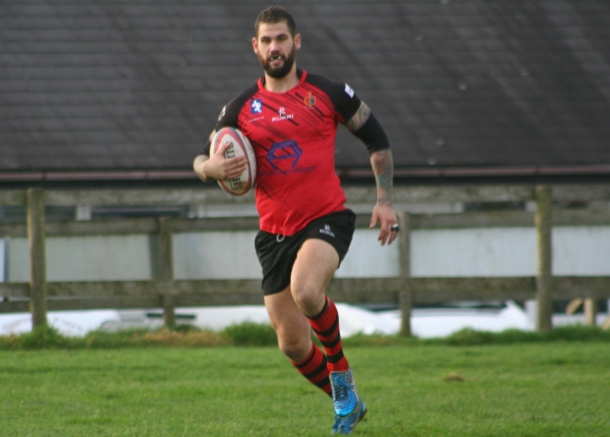Ben Hadfield runs in to score Tavistock's first try against Lanner on Saturday in the Cornwall/Devon League