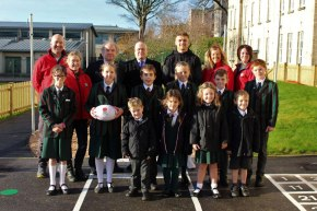 England star Slade returns to his former school to open playground